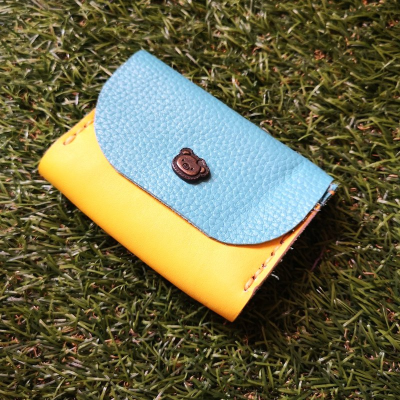 Double-layer card leather coin purse - flower buckle version Tiffany blue + yellow contrast color cowhide