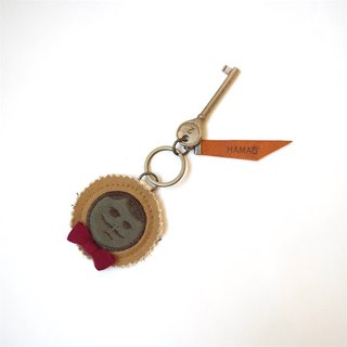 japan vintage key holder  - beige canvas × wine red ribon