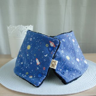Lovely [Korean, Japanese cloth] cosmic rocket brush lamb cashmere collar, bib, short scarf, blue black