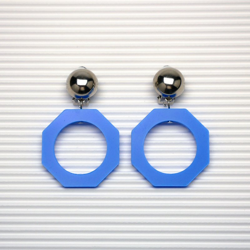 / Metal Hemisphere + Sky Blue Octagon Geometric Earrings - Vintage Series no.01 / Ear clips