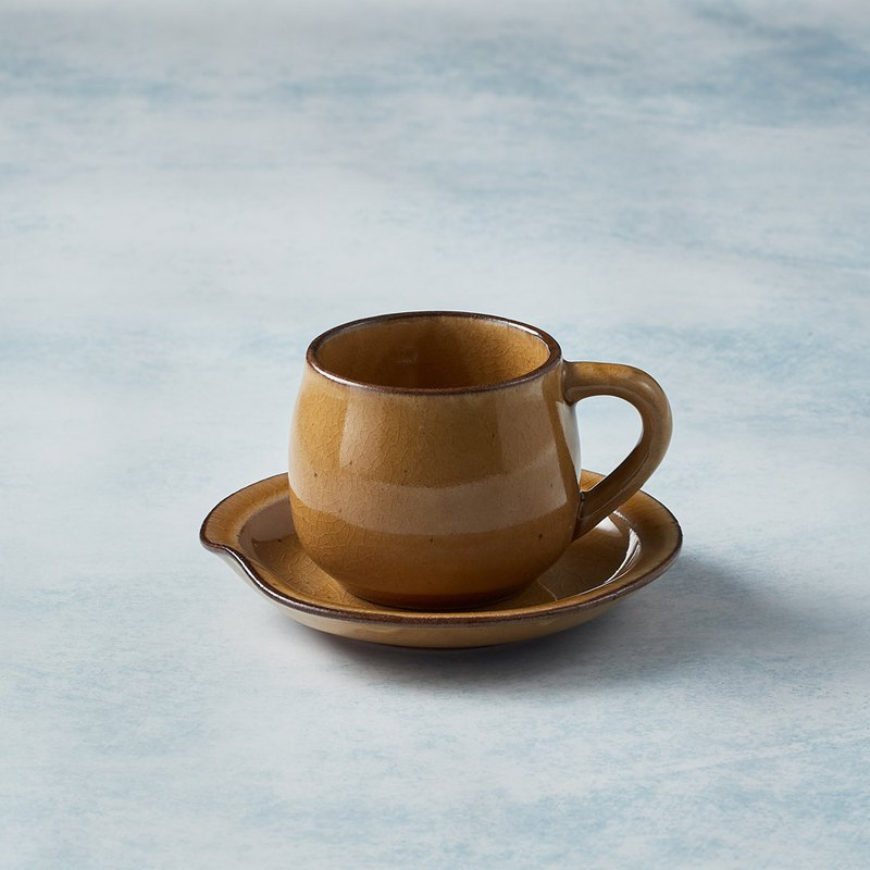 There is a kind of creativity-Japanese Minoya-Round Mouth Coffee Cup and Saucer Set-Ocher Yellow