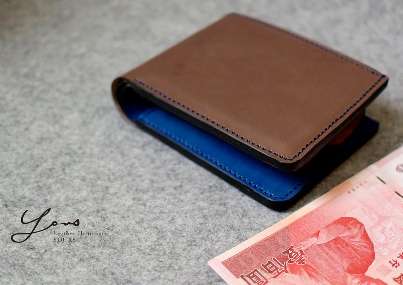 YOURS 8 card + photo bag + change bag + double banknote + double inner bag dark wood color leather + blue