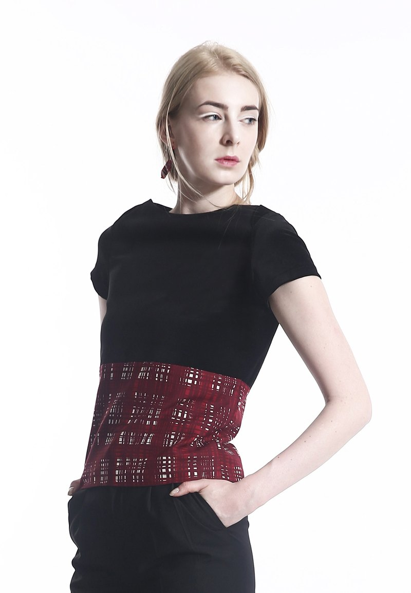 Elegant Black Velvet and Red Silk Checks Chiffon Top