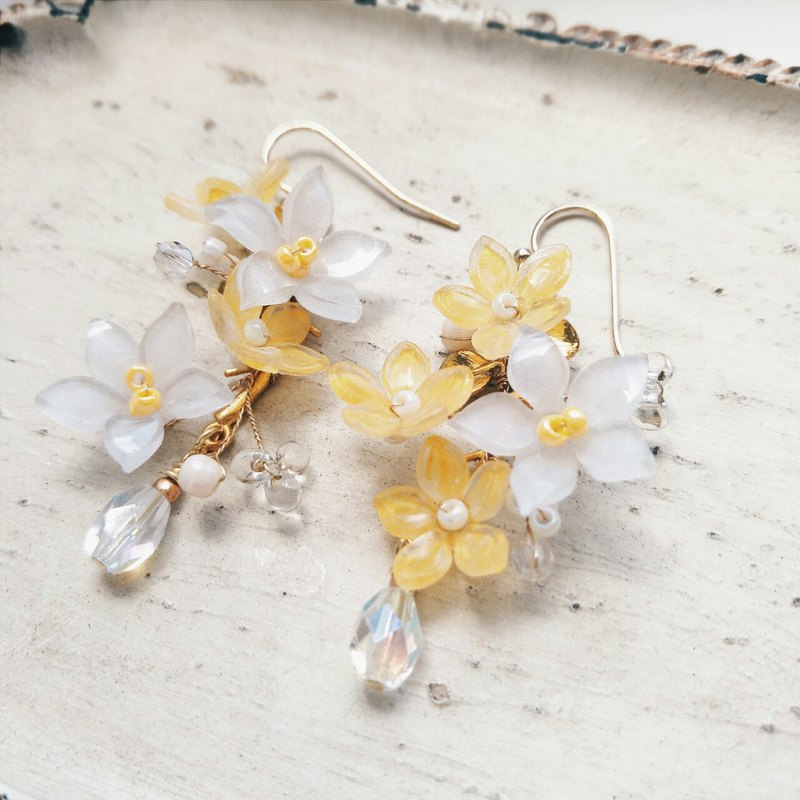 Momolico peach lily earrings orange flower