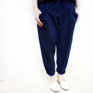 Cotton Comfort Wide Tube Straight Pants / Dark Blue