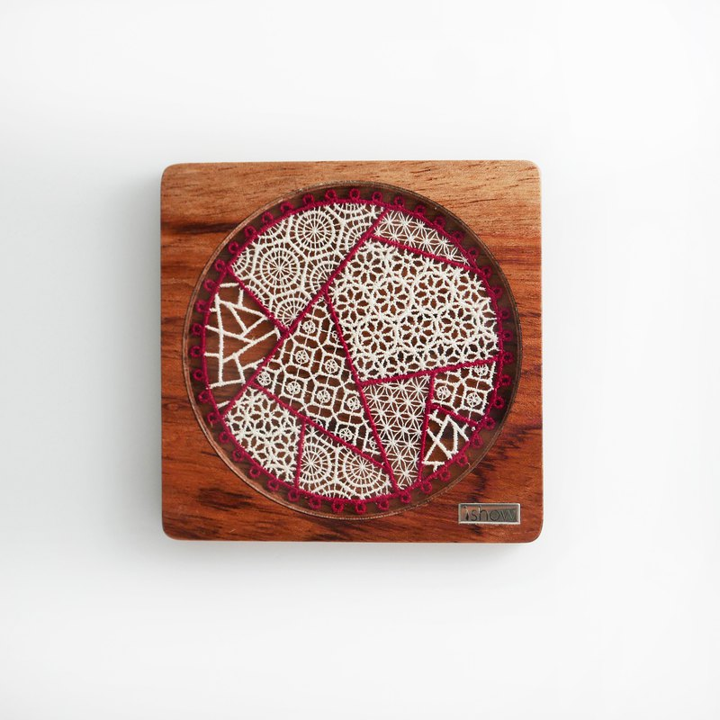 Cherry solid wood coaster embroidery window geometry