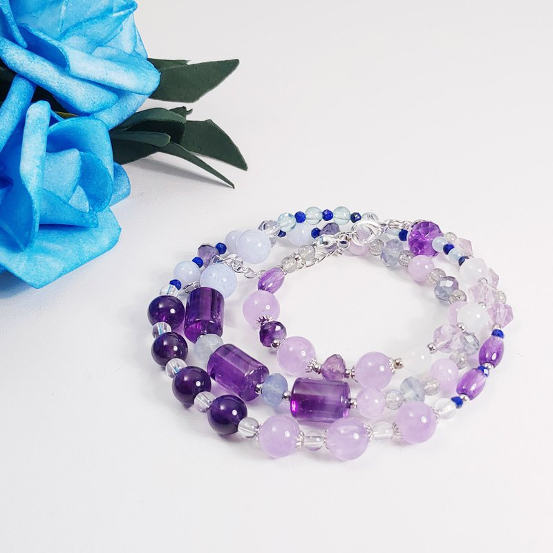 Natural Amethyst Gem Energy Spirituality 3 Circle Bracelet Necklace 2 Top Wheel Eyebrow Heart Wheel Throat Wheel