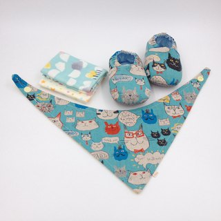 Painted kitten - Miyue baby gift box (toddler shoes / baby shoes / baby shoes + 2 handkerchief + scarf)