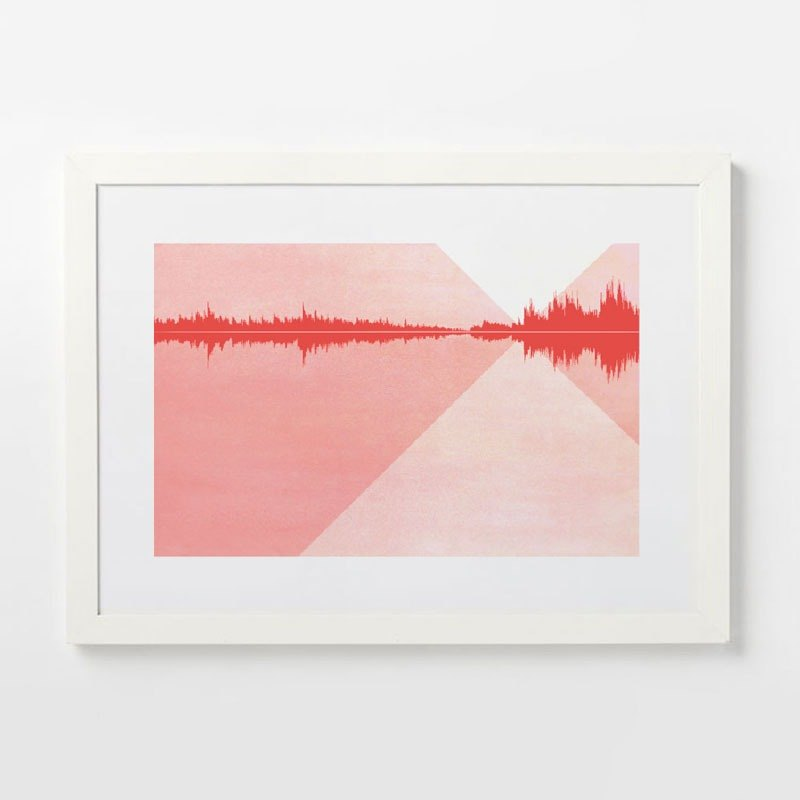 Custom sound wave art deco painting abstract painting sound landscape