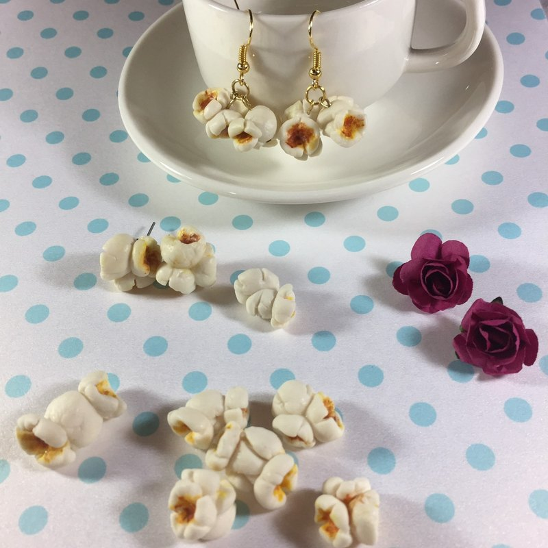 Sweet popcorn earrings optional ear pin ear hook two styles