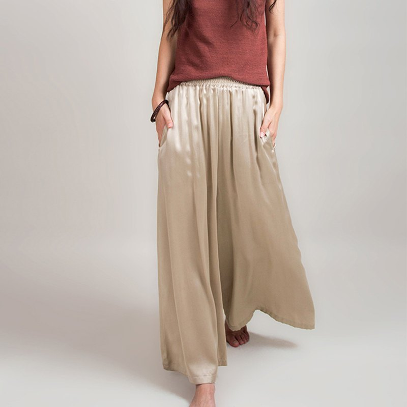 Silk wide-leg trousers, hand-made khaki elastic waist pockets, casual spring, summer and autumn