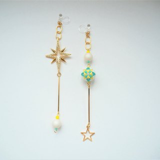 tachibanaya Blue Star Japanese TEMARI asymmetry earrings