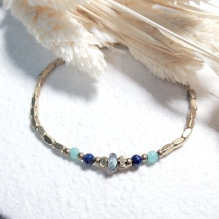 ♦ ViiArt ♦ Ray - Oriental ♦ elongated azurite gold bracelet amazonite brass
