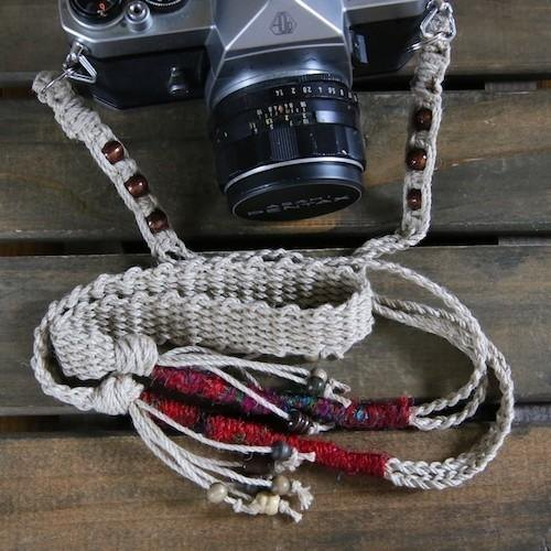 Silk thread & wood bead hemp camera strap / double ring