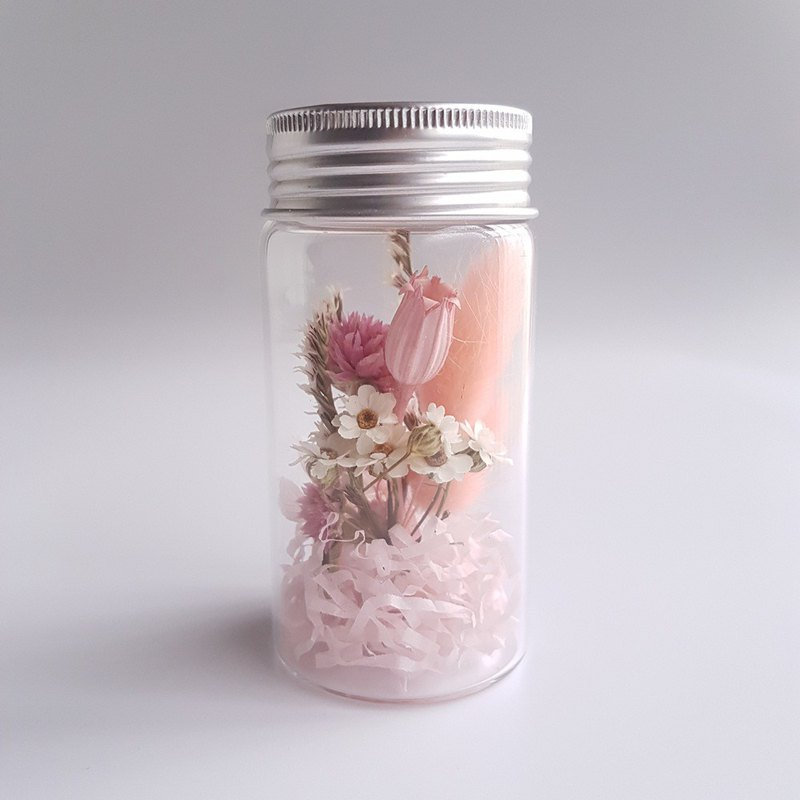 Clear glass bottle dry flower vial flower (small) - pink