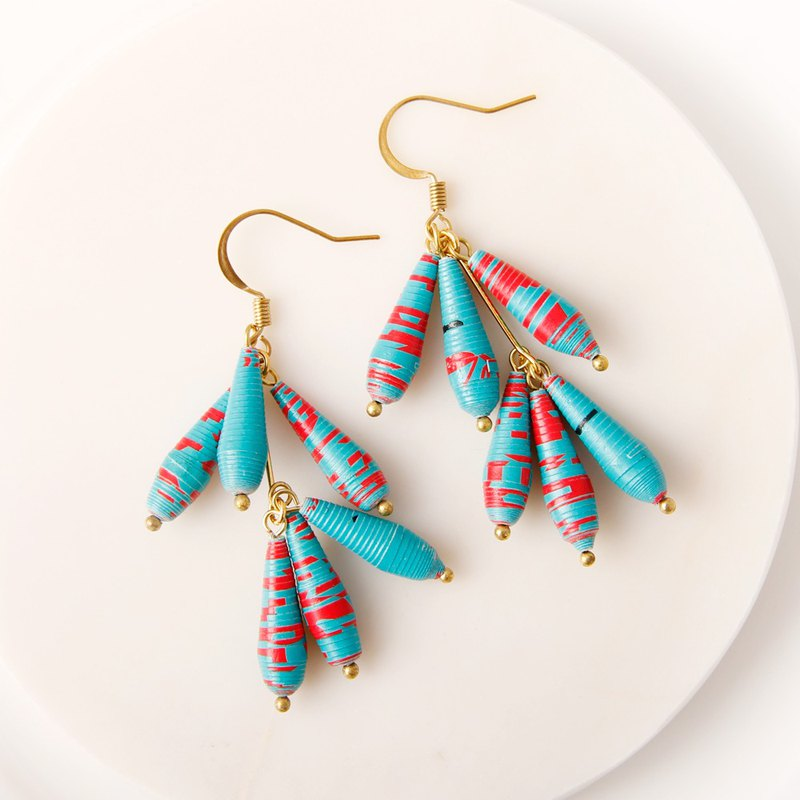 Musev red blue eye drop earrings