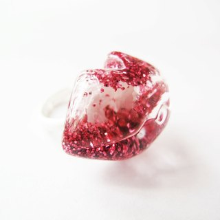* Rosy Garden * coral red sequined diamond snowflake water flow lip glass ring