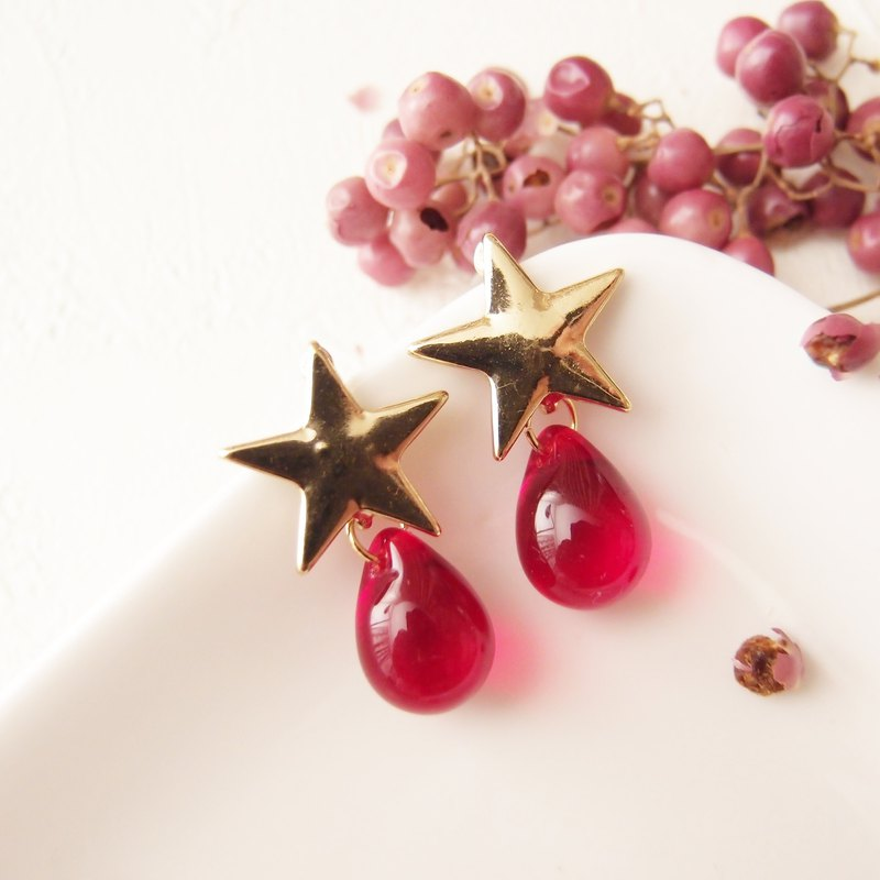 red. The thing of the stars. Clip-on earrings, pin earrings