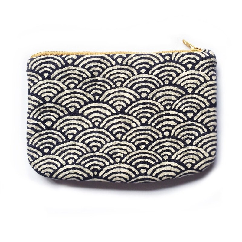 Japanese Wave Zipper Bag, Padded Small purse, Seigaiha