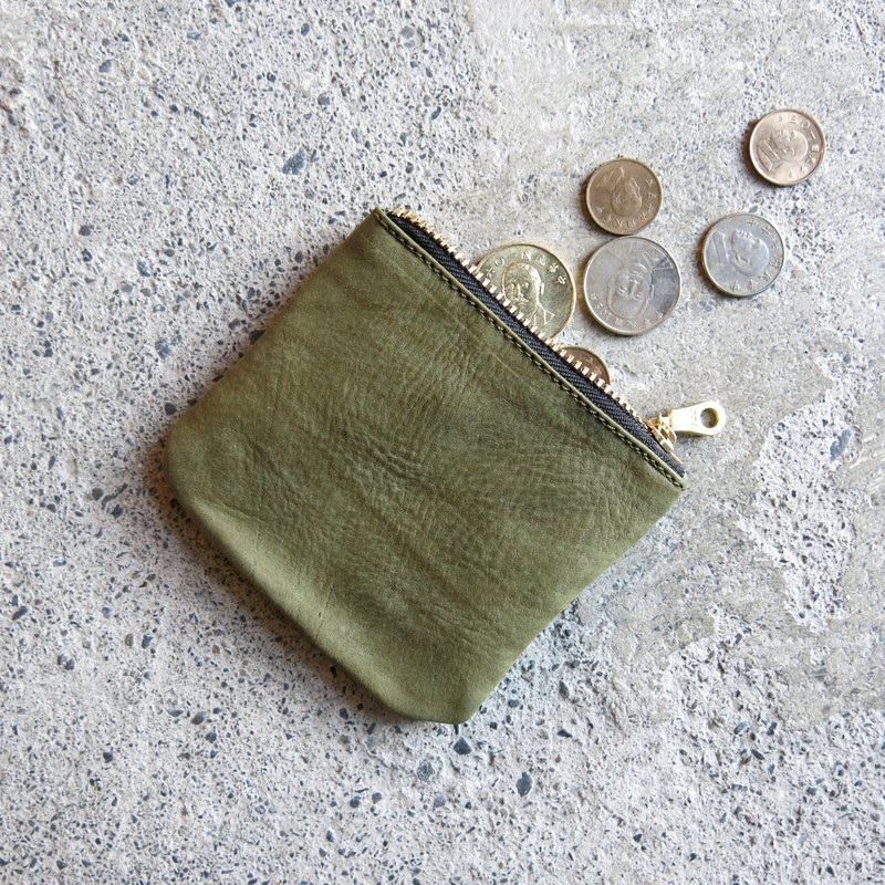 Thin leather coin purse - tea green vegetable tanned leather change, cards are loaded in [LBT Pro]
