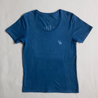 Indigo dyed indigo organic cotton - Deer Beer Hunter U neck TEE