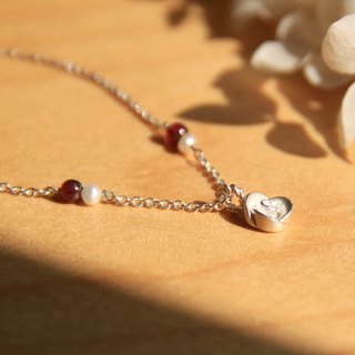 Rose Series - Burgundy (garnet) - Small Rose 925 Sterling Silver Handmade Bracelet Silver Gift Wrap