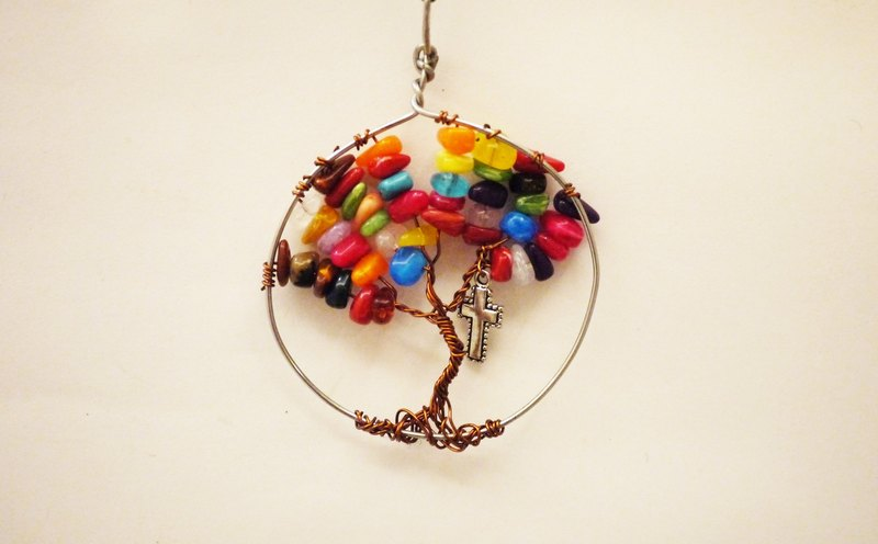 [Tree of Life] Copper Line Colorful Crystal Charm