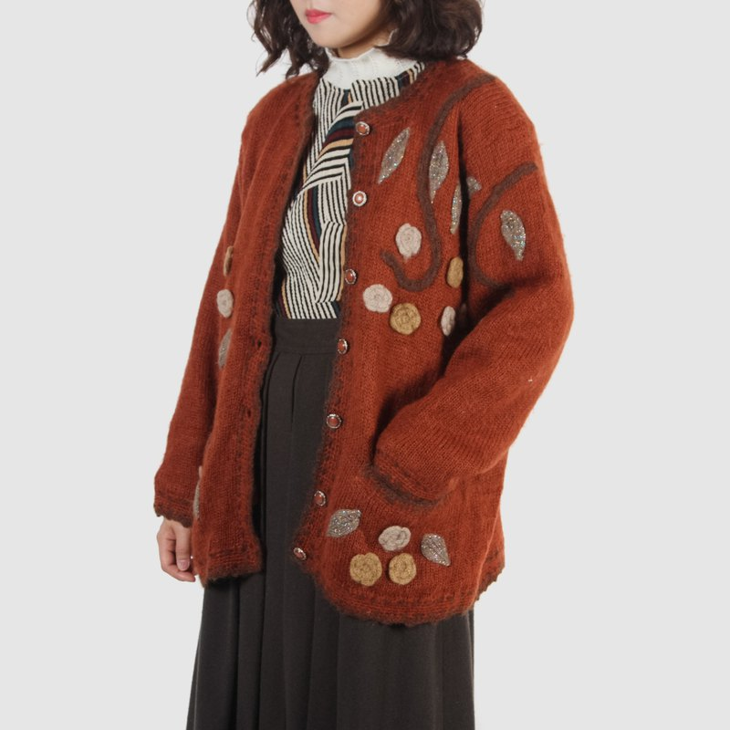 [Egg plant vintage] autumn color warm three-dimensional woven vintage cardigan sweater coat