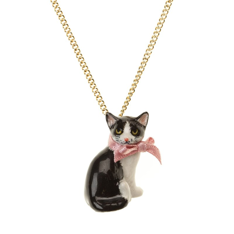 "And Mary Black and White Cat Necklace | 24""/28"" 