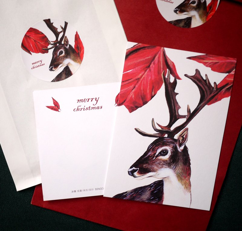 2016 Flower Red Elk Christmas Card