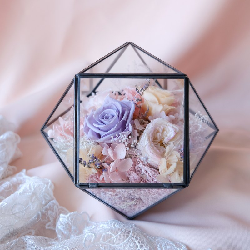 [Forever] geometric metal frame / pink / purple / no withered flowers / eternal flowers / roses / Valentine's Day