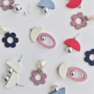 Marygo ﹝ retro geometric cut flowers round wood earrings
