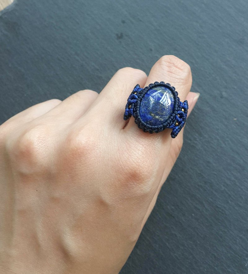 Misssheep-R06-National Wind South American Wax Line Braided Brass Lapis Ring