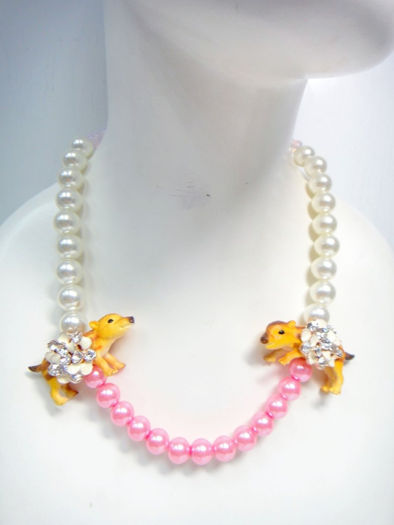 TBL wild boar glass pearl necklace crystal necklace cute