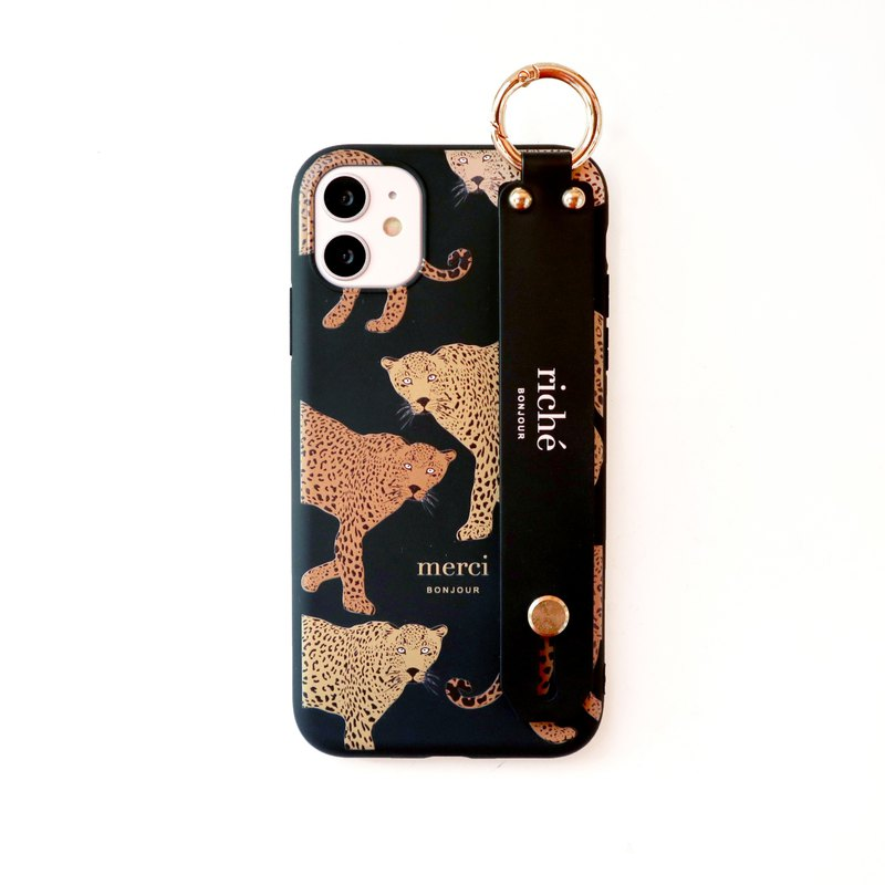 French panther hand strap phone case