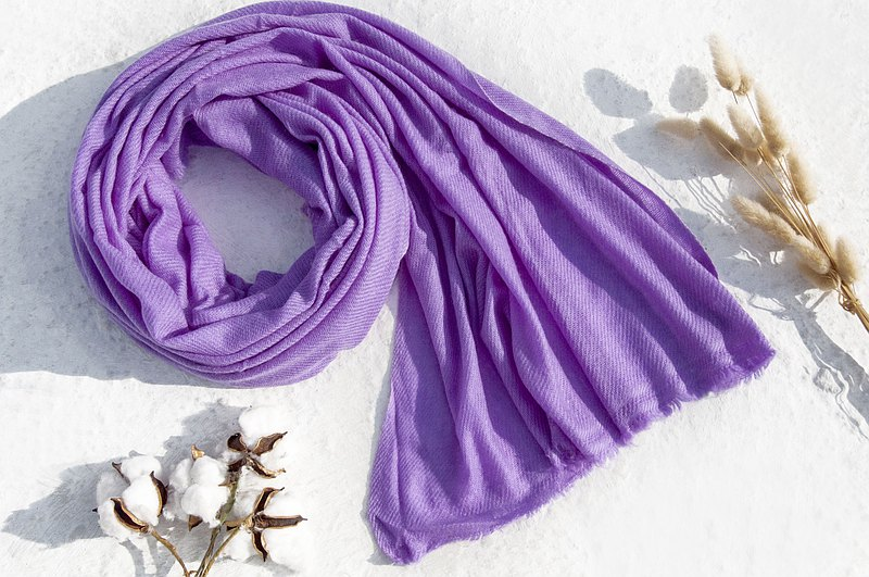 Top cashmere cashmere scarf Pashmina cashmere scarf / pure wool scarf shawl / ring velvet shawl-taro purple