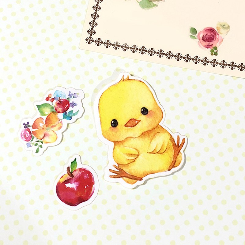 Little Animals Stickers - I Love apple! Chick