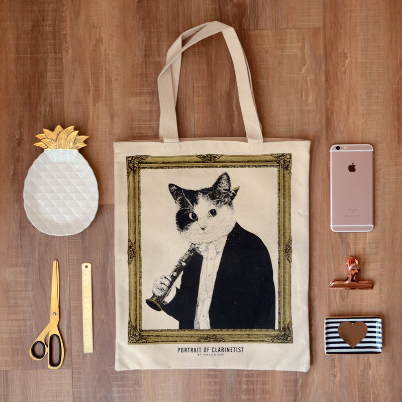 Clarinet cat portrait canvas bag