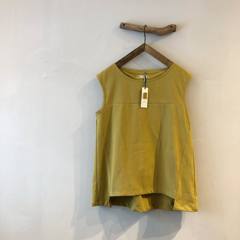 RH clothes / cotton and linen stitching vest / mustard yellow