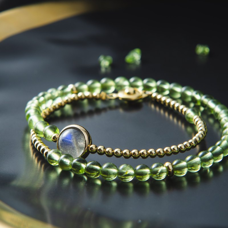 Peridot, Labradorite, 14K Gold Plated Natural Gemstone Stack Bracelet