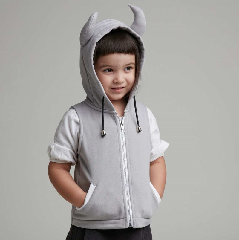 Little Devil Hooded Vest (Grey)