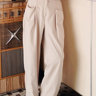 Two-color high waist straight leg pants
