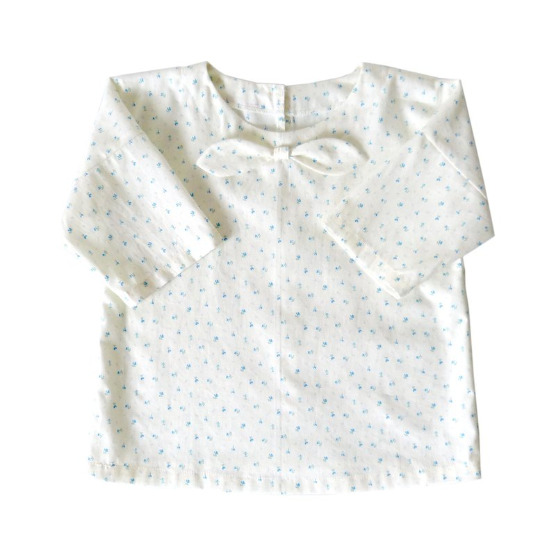 Little Girls Little Blue Tulip Drop Shoulder Top 3/4 Sleeve - 100% Cotton - Handmade Children's Clothes
