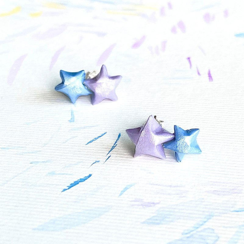 Lucky Twins Star Origami Waterproof Earrings (Lavender+Blue)
