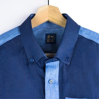 Zhuo also blue dyed - stitched ramie shirt