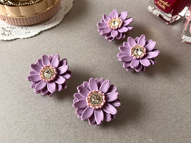Purple flower ear cuffs