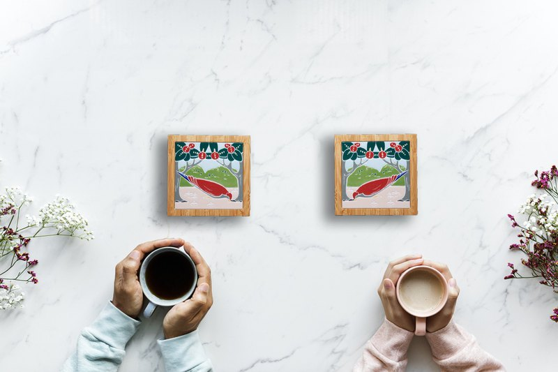 Taiwan Tile Bamboo Coaster---Love Pigeon (in pairs)