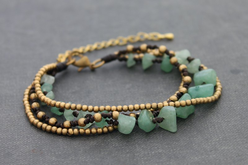 Jade Brass Chain Layer Romantic Bracelets Adjustable Woven Beaded
