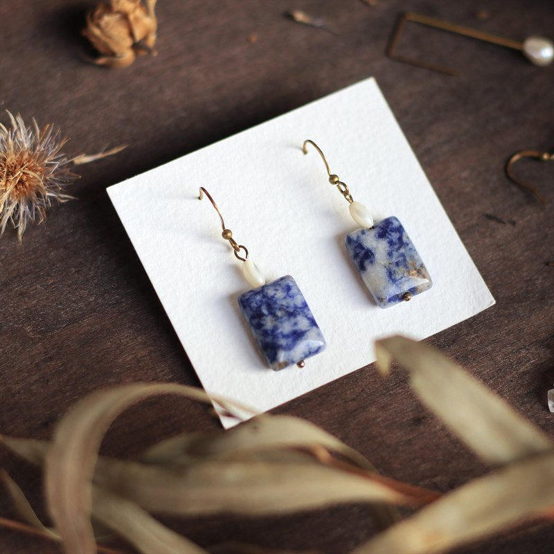 Natural stone classical earrings series - blue and white porcelain