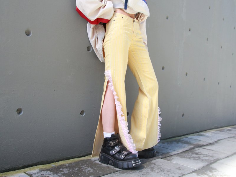 ///Fatty bone/// 90s D&G side slit lace pants Vintage Italian